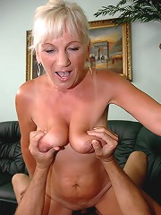 Busty blonde grandma fucking..