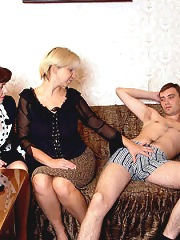Two mature ladies seduce a..