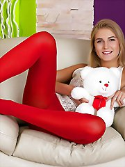 Girl in red nylons gets her..
